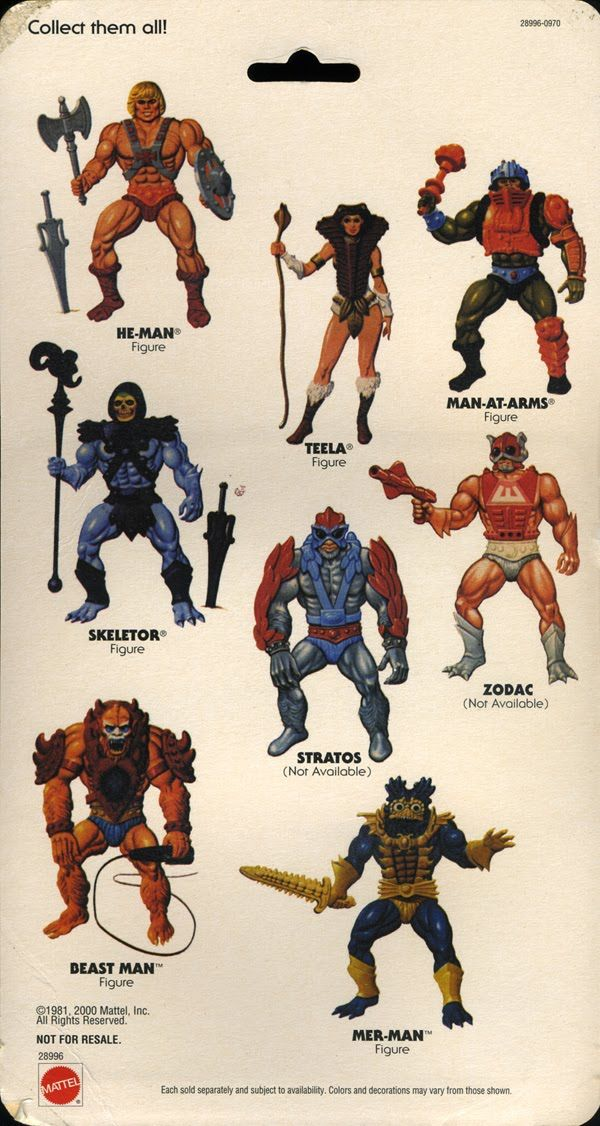 Masters of the Universe toys. I had all of these except Teela and Man-At-Arms when they first came out.