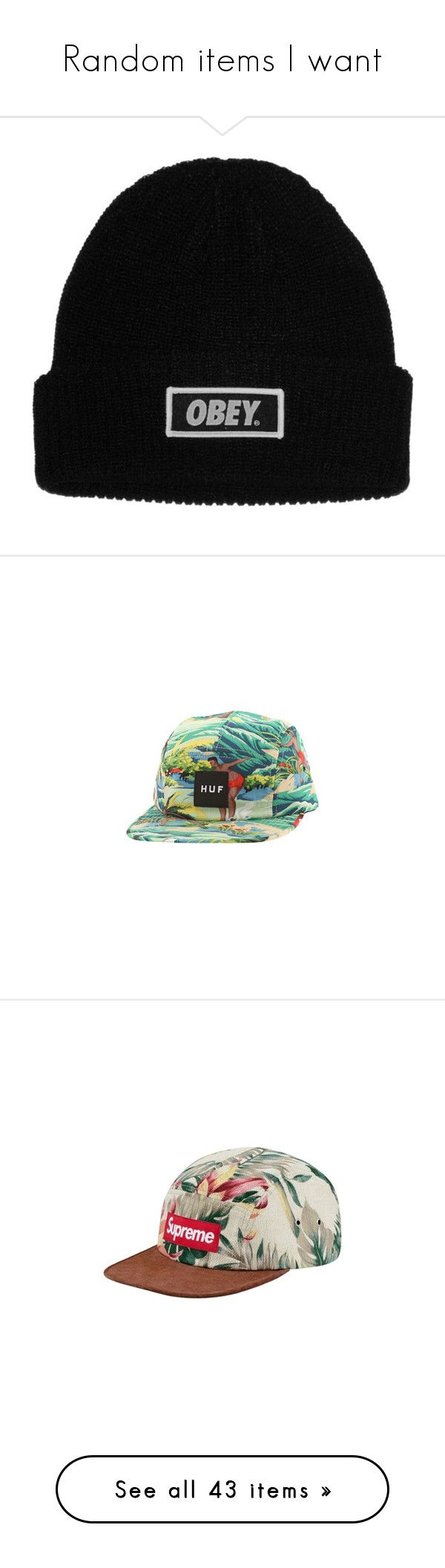 """""""Random items I want"""" by michellel3 ❤ liked on Polyvore featuring accessories, hats, beanies, men, obey clothing, beanie cap, beanie cap hat, beanie hat, hawaiian hat and adjustable hats"""