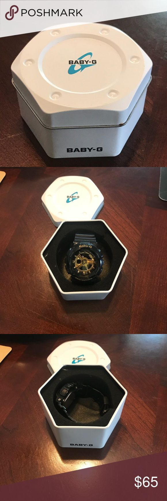 Baby G Shock watch black and Gold This Baby G Shock was purchased for my son and he only wore it a few time before he moved on to a gold MK watch therefore he totally lost interest in this watch. It was purchased for 125$ and is in like new condition. Make me an offer and it could be yours. It could potentially make a nice Christmas gift for someone. G Shock Accessories Watches