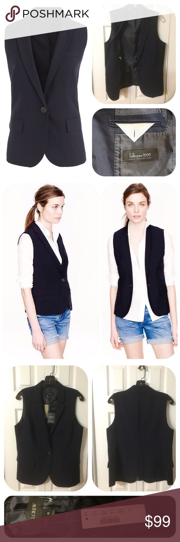 """J. Crew Navy Stretch Wool Vest in Sizes 8 & 10 I also love vests so much so that I ended up with 3 of the same in different sizes, so I'm Poshing 2. With J. Crew Navy Ankle Pants it's my default """"suit"""" here in FL. Looks great w/tank, and flats or heels. J. Crew showed it with cutoffs. Size 8: NWOT, Size 10: NWT. FROM J. CREW: An alternative to your usual blazer, just as polished, but w/new layering possibilities. Wool with a hint of stretch. Notch collar. Front Flap pockets. Lined. Felt…"""