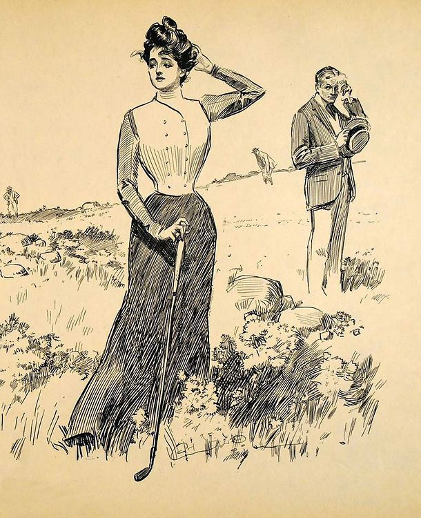 Margaret Abbott, 1900 Olympic Golf Champion, immortalised as teh iconoc Gibson Girl by Charles Dana Gibson.