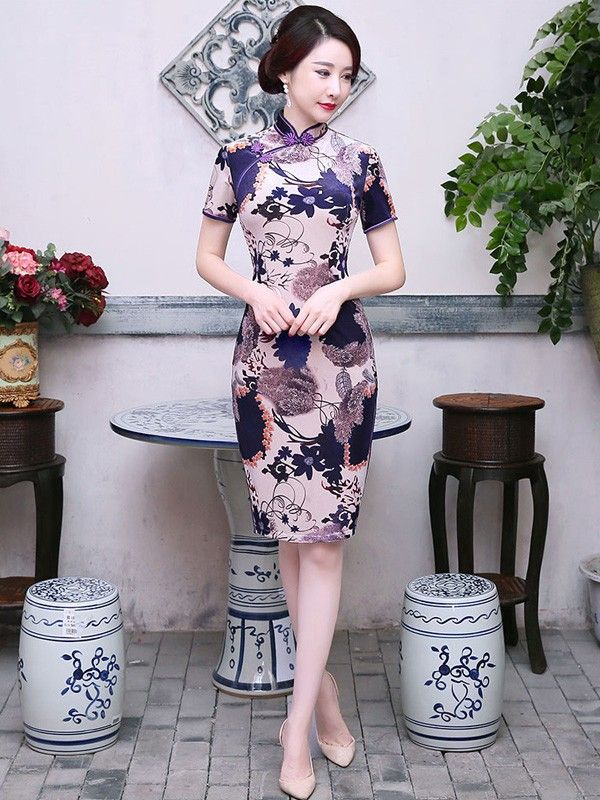 Midi Floral Velour Qipao / Cheongsam Dress
