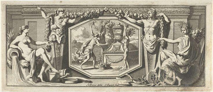 Jacobus Baptist | Drie bosnimfen en een jonge vrouw bij een grafmonument, Jacobus Baptist, 1693 - 1704 | Op een plaquette een afbeelding van drie bosnimfen en een jonge vrouw bij een grafmonument. Aan weerszijden ervan twee kariatiden en Ceres tegenover een watergodin.