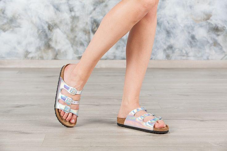 Sandales #Birkenstock ® Florida couleur argenté pour femme en birko-Flor® Miroir (#Mirror Silver) - BK553943   Birkenstock France