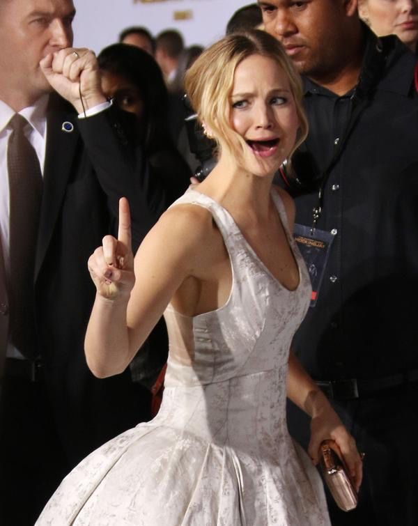 Jennifer being Jennifer at the LA premiere of Mockingjay