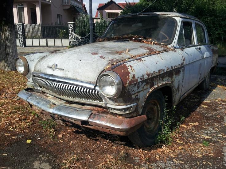 Old Volga Russian Car In Its Natural State Sighetu Marmatiei