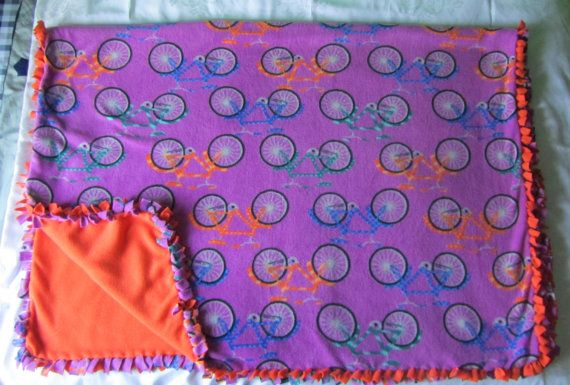 Large and cozy Bicycle fleece tie blanket/throw by BriersBlankets