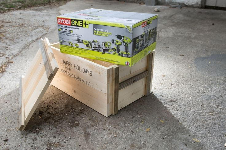 Gift-wrap and fluffy bows just don't cut it if you are planning on gifting a Ryobi Power Tool. Opening your present with a crowbar or a Ryobi Cordless Power Drill? Now that's more like it.   Not only is opening a crate a fantastic experience, these sturdy crates can be repurposed into exciting new possibilities (Check out some of our ideas at Crates and Pallet after the holidays).   This easy to construct crate is the showstopper you need, especially if your gift is the Ryobi ONE+ 18V 6PC…