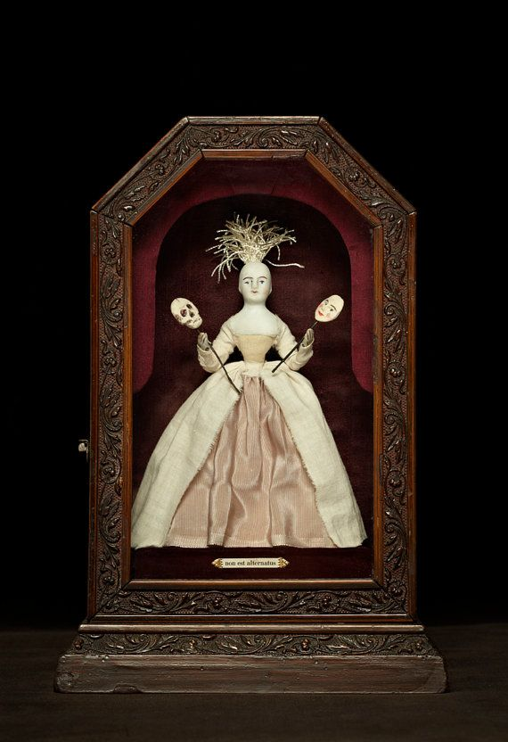Shadow Box, Curiosity Box, Antique Doll, Lowbrow Memento Mori Assemblage - THERE'S NO ALTERNATIVE