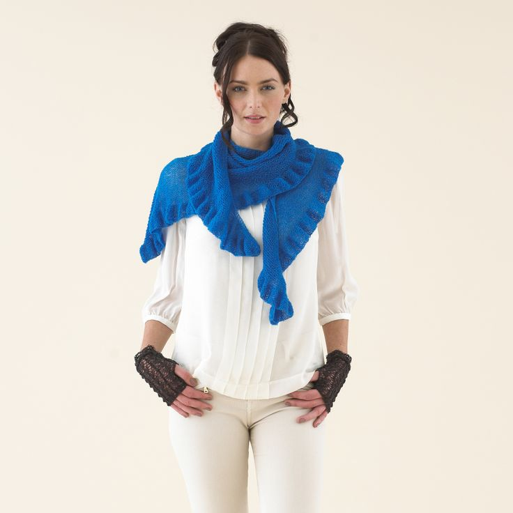 The Sublime Flippy Edge Wrap - Sublime Extra Fine Merino Lace in Ikat Blue