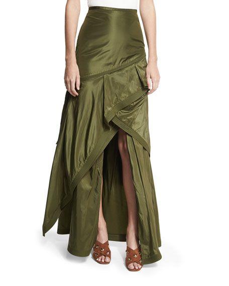 JOHANNA ORTIZ Guaduas Silk Taffeta Maxi Skirt, Green. #johannaortiz #cloth #