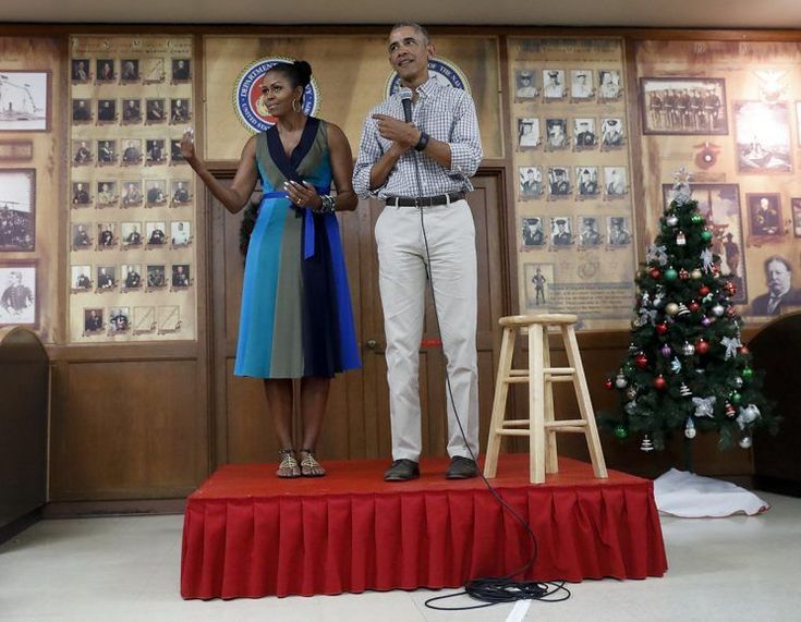 Her time as first lady is winding down, but Michelle Obama's personal style just won't quit. Mrs. O joined President Obama to address the troops on Christmas at the Marine Corps Base Hawaii in Kailua.