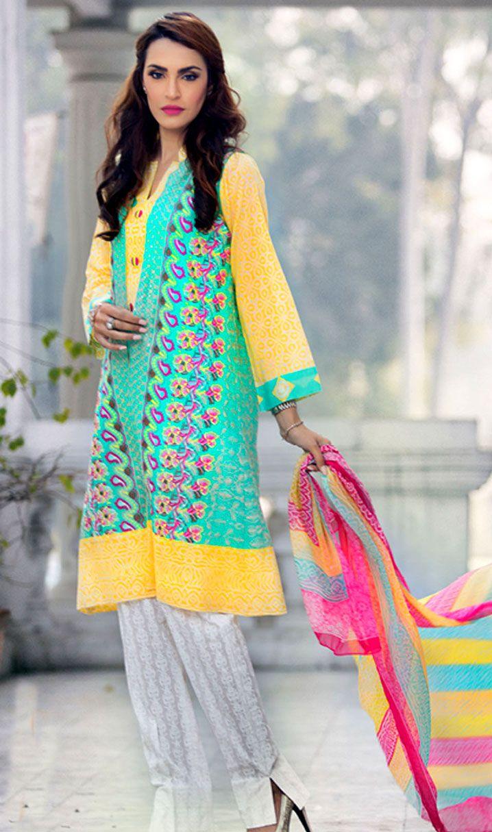 Sea Green/Yellow Embroidered Cotton Lawn Dress - Pakrobe