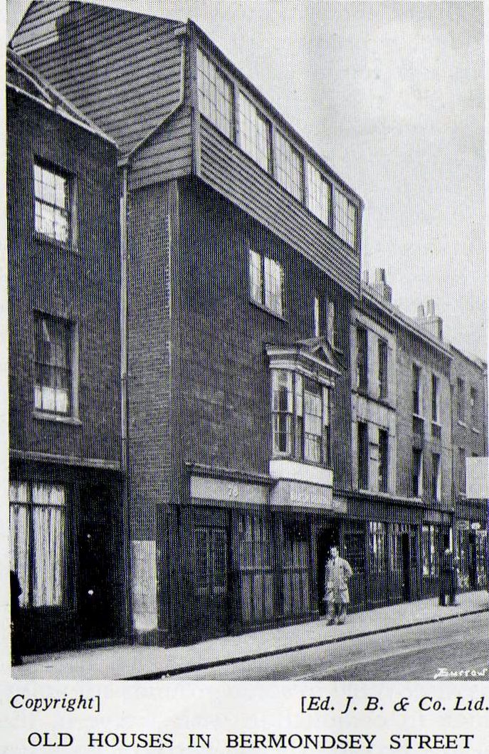 Old houses in Bermondsey Street. Old Bermondsey pics and adverts from the 1938 Official guide to Bermondsey - Pictures of Bermondsey & Rotherhithe