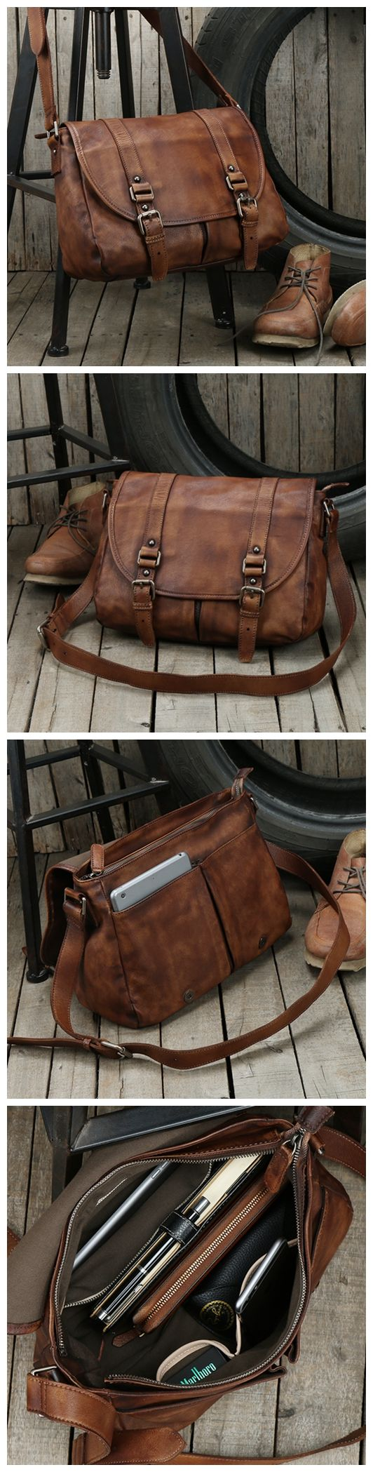 Handmade Men's Messenger Bag Top Grain Leather Travel Bag Crossbody Bag Leather Satchel 9042