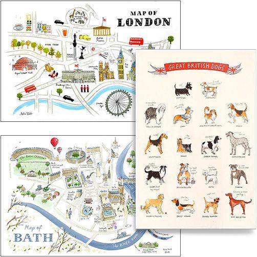 ALICE TAIT COTTON TEA TOWEL / Kitchen Textiles London Bath Map British Dog Gift
