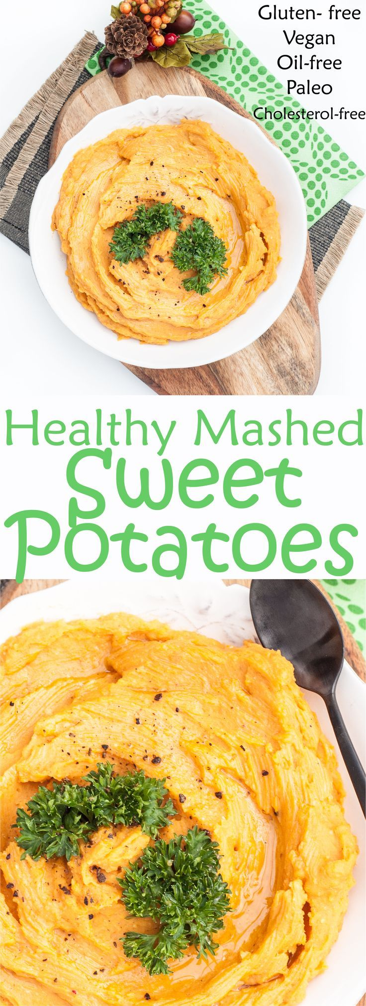 Healthy Mashed Sweet Potatoes Recipe. These mashed sweet potatoes will blow regular mashed potatoes out of the water! Very healthy, vegan, gluten-free, paleo, and without any butter and dairy-free! | http://VeganFamilyRecipes.com | #glutenfree #vegetarian #oil-free