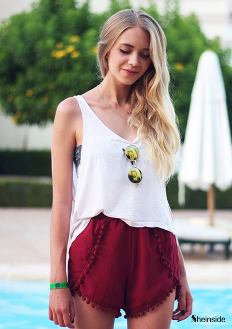 Gold necklaces / Maroon shorts - Womens Fashion Clothing at Sheinside.com