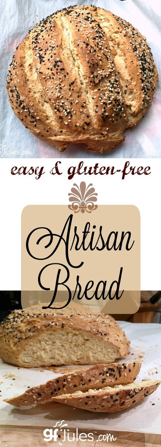 Do you miss crusty bread like you find in a bakery? You'll wonder what took you so long to try, once you see how quick and easy it is to make this gluten free artisan bread!  Perfect for dips, spreads or just savoring! gfJules.com: