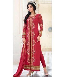Sizzling Pink Georgette Designer Salwar Suit.