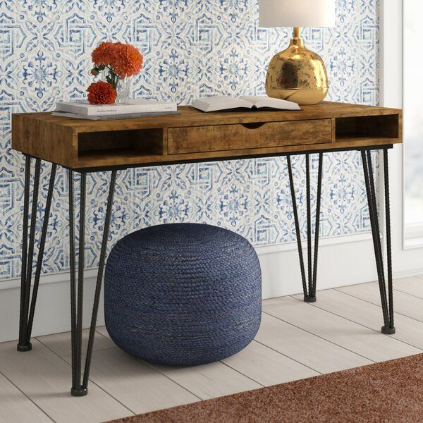 Anchor Your Home Office Or Study Space In Industrial Style With This Writing Desk Crafted Of Solid And Manufact Solid Wood Writing Desk Desk Wood Writing Desk