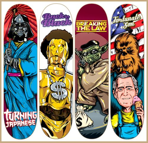 Star Wars has been mixed up with four Rock  Roll songs, given a comedic twist and slapped on a skateboard deck by Eduardo Lopez. Rockin! Star Wars, Rock  Skate by Eduardo Lopez / handsick (Behance) (Twitter) Via: Abduzeedo