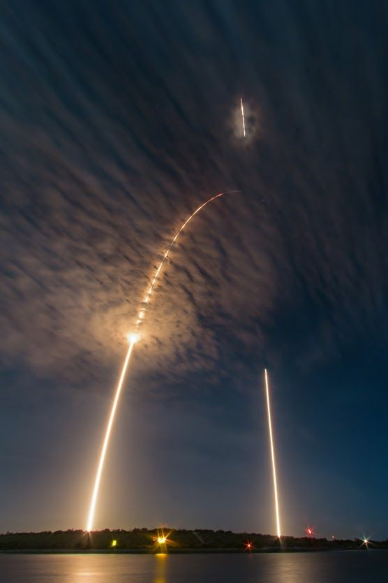#Falcon9: Launch and Landing | Shortly after midnight on July 18 a SpaceX Falcon 9 rocket launched from Space Launch Complex 40 at Cape Canaveral Air Force Station, Florida, planet Earth. About 9 minutes later, the rocket's first stage returned to the spaceport. This single time exposure captures the rocket's launch arc and landing streak from Jetty Park only a few miles away. Along a climbing, curving trajectory the launch is traced by the initial burn of the first stage, ending near the…