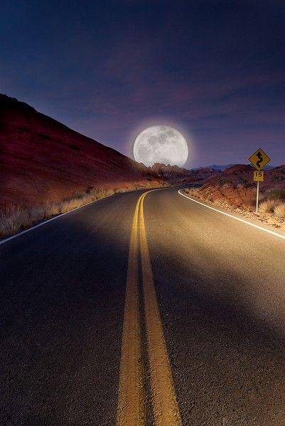 On A Dark Desert Highway...  Moon Road, Tucson, Arizona
