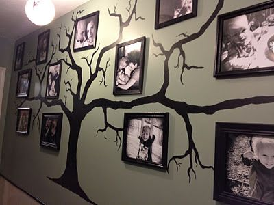 My mother-in-law is going to help me do this on our livingroom wall.  I love this.: Decor Ideas, Family Trees, Creative Ideas, Families Trees Wall, Photo Wall, Families Photo, Pictures, Trees On Wall, Display Photo