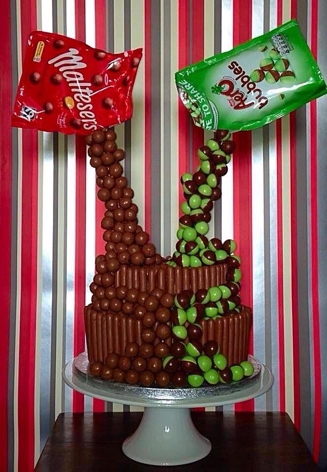 2 Tier Malteser & Mint Aero Bubbles Gravity Birthday Cake