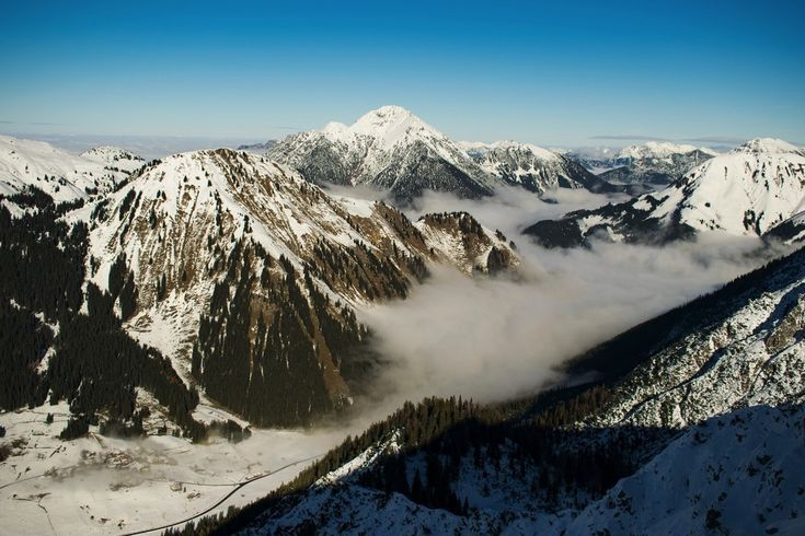 Mountains, aerial view, fog, valley, 5k wallpaper