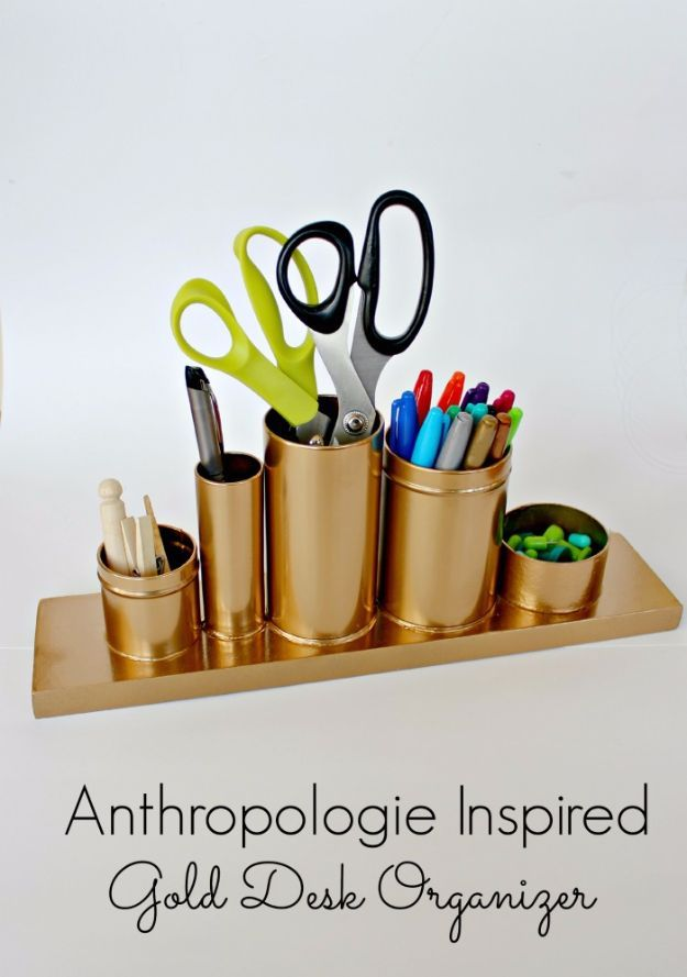 Last Minute Christmas Gifts - Anthropologie Inspired Gold Desk Organizer - Quick DIY Gift Ideas and Easy Christmas Presents To Make for Mom, Dad, Family and Friends - Dollar Store Crafts and Cheap Homemade Gifts, Mason Jar Ideas for Gifts in A Jar, Cute and Creative Things To Make In A Hurry http://diyjoy.com/last-minute-gift-ideas-christmas