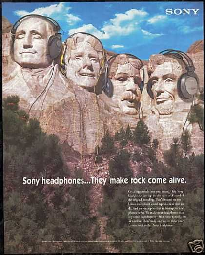Mt Mount Rushmore Sony Headphones (1996) Always thought this was cute