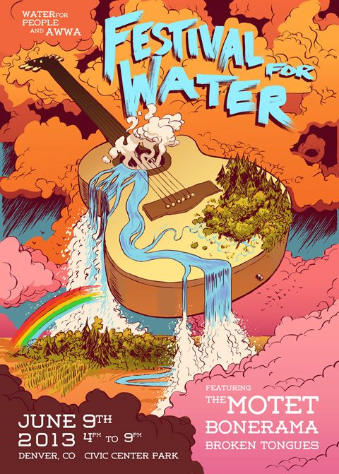 Festival For Water Logo + Event Poster from Denver's Peril - The Denver Egotist