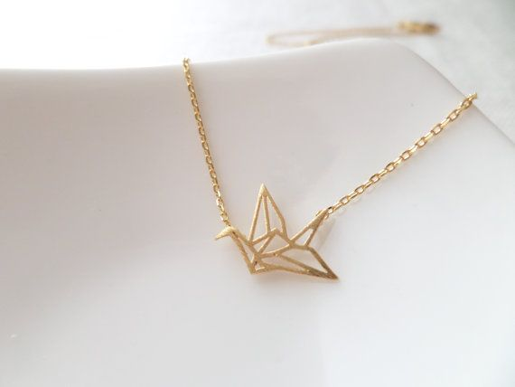 Gold, Rose Gold or Silver  origami crane necklace...dainty necklace, everyday, simple, birthday gift by Tiffany Avenue Bridal
