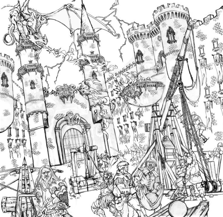High Detail War Scene Coloring Page