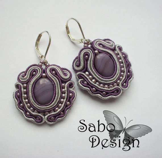 BAROQUE  soutache earrings handmade embroidered in by SaboDesign