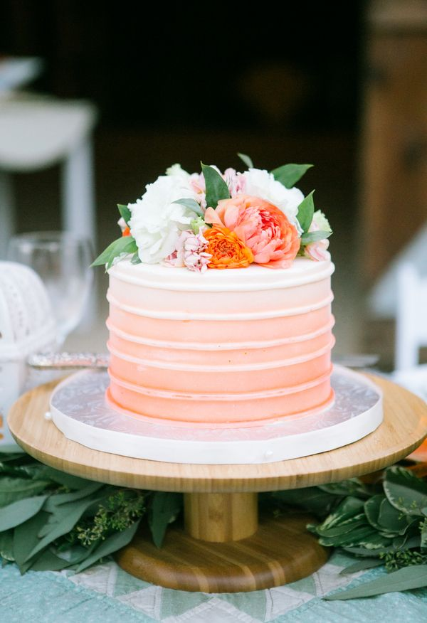 Ombre peach cake, orange and white floral topper // bycherry photography
