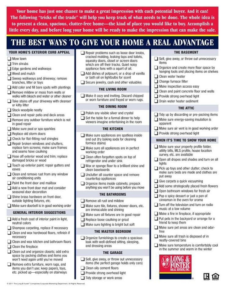 Selling your home checklist. ROCKING!