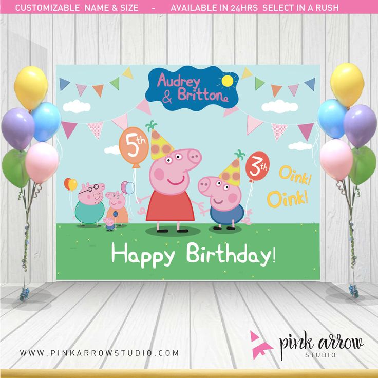 Peppa Pig Banner Peppa Pig Birthday Banner By: Pin By Pink Arrow Studio On Banners / Backdrops