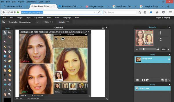 Tak hanya dapat dilakukan secara offilne, aplikasi edit foto online juga tersedia. Kamu bisa gunakan browser baik di Android, iOS ataupun PC