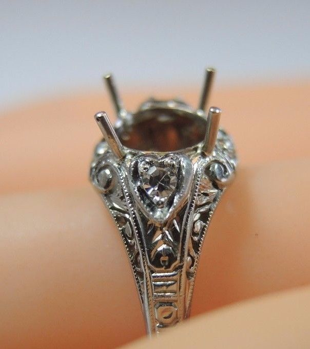 Antique Engagement Setting 18K White Gold Hold 7.5MM-8MM Ring Size 6.5 Art Deco #Solitaire