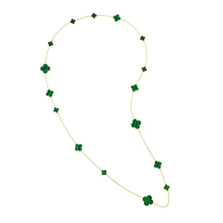 Van Cleef & Arpels green malachite hardstone sautoir-style necklace in yellow gold. http://www.thejewelleryeditor.com/shop/product/van-cleef-and-arpels-magic-alhambra-long-malachite-necklace/ #jewelry
