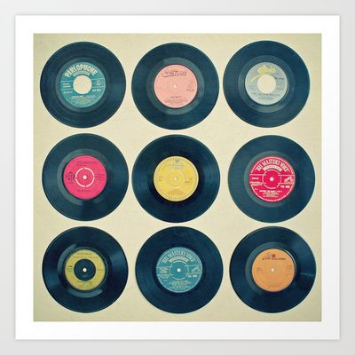 Vinyl Collection Art Print by Cassia Beck - $20.80