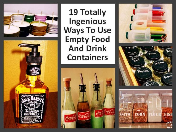 Clever Ways To Repurpose Empty Food And Drink Containers - http://www.diyduck.com/clever-ways-to-repurpose-empty-food-and-drink-containers