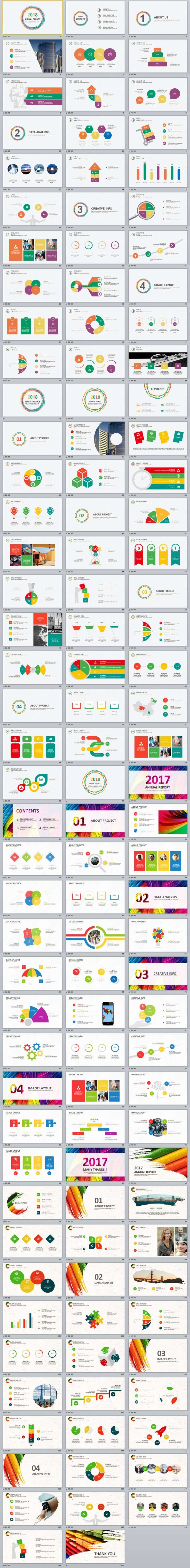 4 in 1 multicolor Annual Report PowerPoint templates