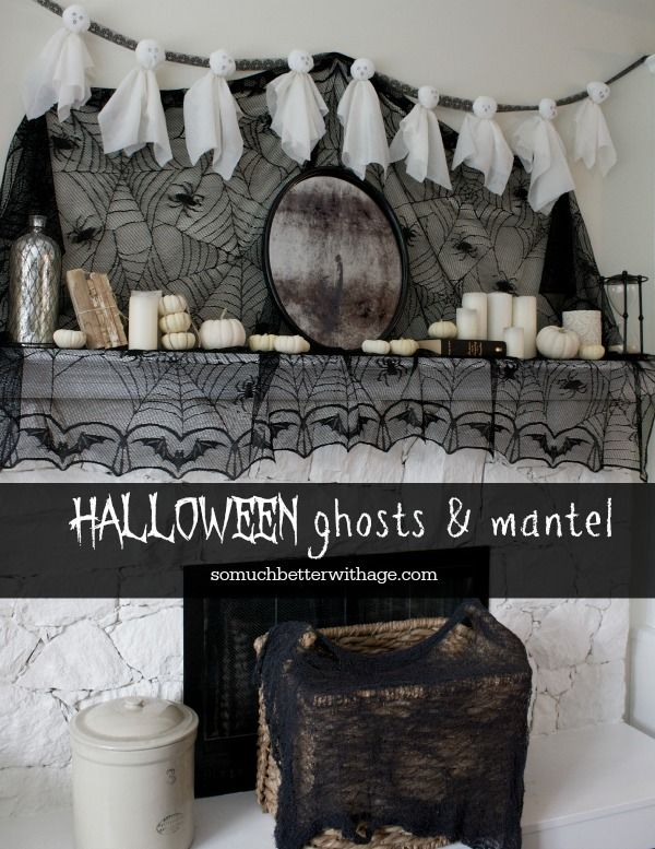 Halloween Ghosts and Mantel from So Much Better with Age | Halloween Favorites at www.andersonandgrant.com