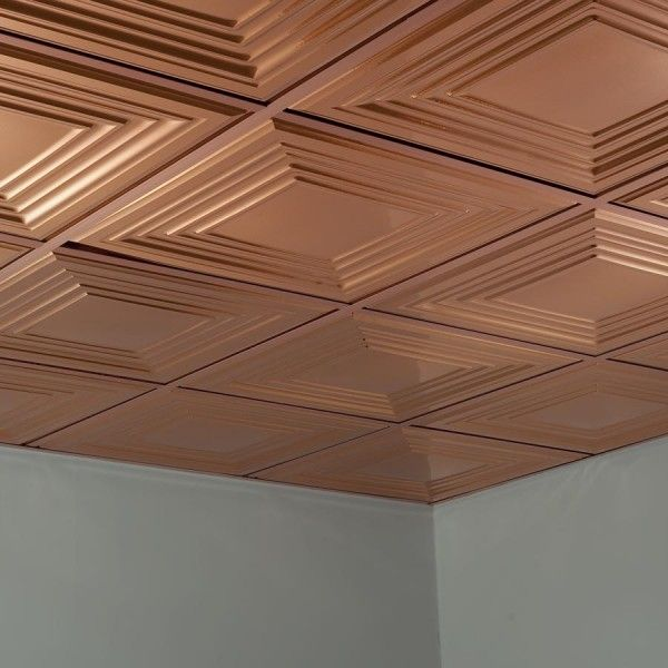 Fasade Ceiling Tile 2x2 Suspended Traditional 3 In Polished Copper In 2020 Ceiling Panels Ceiling Tile Stamped Tin Ceiling