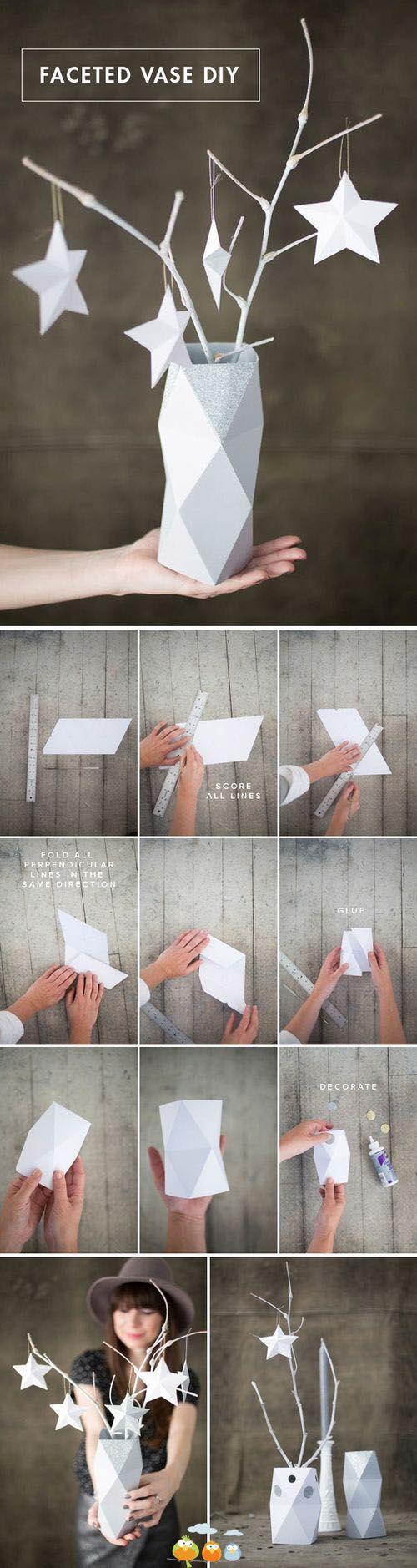 Florero de papel facetado
