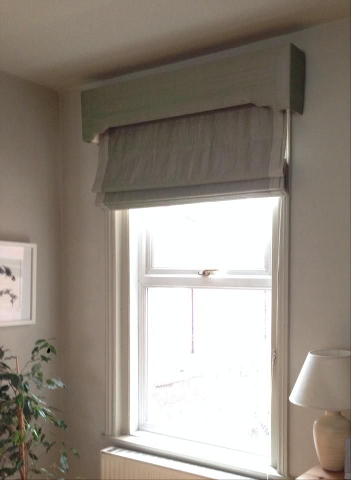 Upholstered Pelmet And Roman Blind Using James Hare Silks With A Slightly Softer Shade Along The